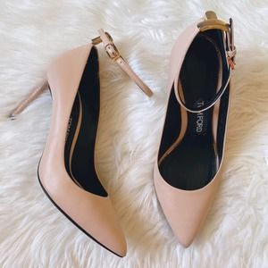 Tom Ford | T Bar Nude Ankle Strap Leather Pumps